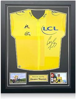 Exclusive Memorabilia Tour De France 2018 gelbes Trikot von Geraint Thomas signiert. Standardrahmen