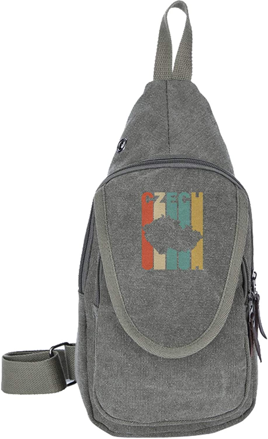 Mens and Womens Canvas Small Backpack Retro Style Czech Republic Silhouette Chest Bag, Multipurpose Crossbody Daypacks for Bicycle Sport Hiking Travel Camping