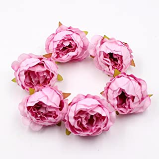 silkflowers 15pcs/lot 5cm fakeflowers Quality Peony Flowe Head Silk artificialflowers Wedding Decoration DIY Garland Scrapbook Gift Box Flowe (Pink)