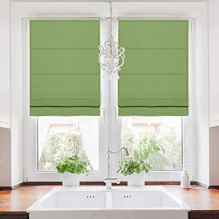 Amazon Com Twopages Linen Blend Roman Shade Roman Blinds For Windows Custom Made Roman Window Shade Room Darkening Blackout Roman Shade Washable Fabric Install Hardware Included Green 1 Piece Home Kitchen