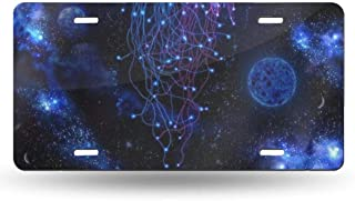 YongColer Personalized License Plates - Cosmic Galaxy Under Sea Ocean Jellyfish, High Gloss Metal License Plate Reinforce License Plates Novelty License Plate Tag - 6
