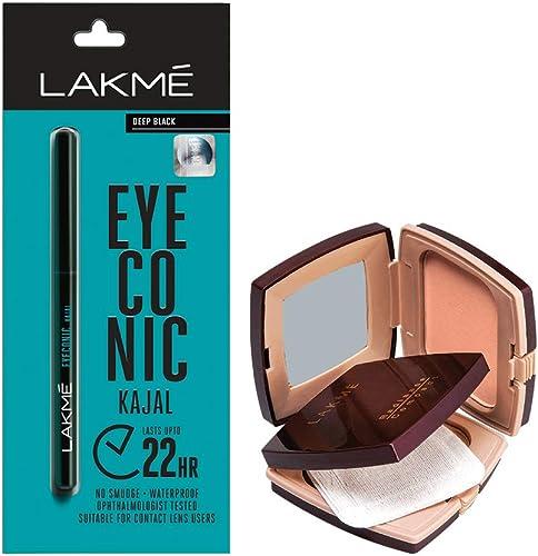 Lakmé Eyeconic Kajal, Black, 0.35g with Lakmé Radiance Complexion Compact, Pearl, 9g product image