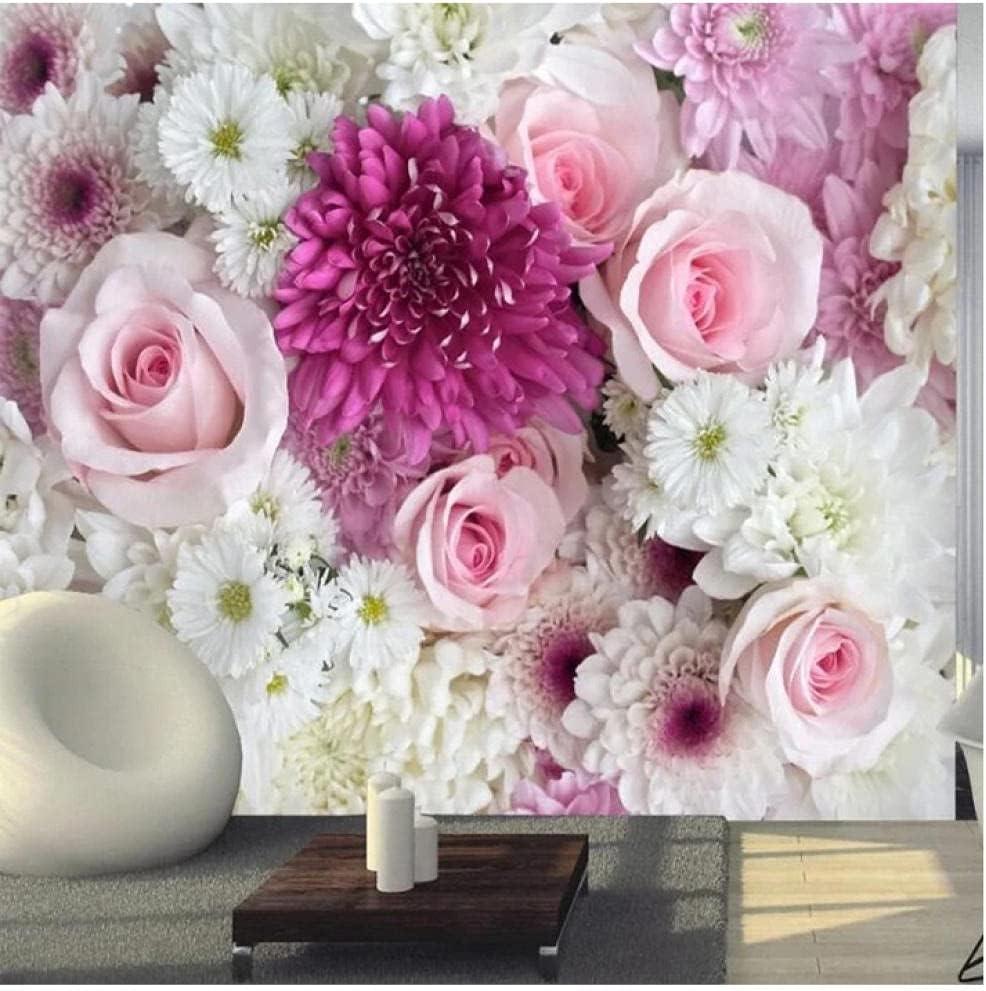 overseas N\ A Custom Mural Wallpaper 3D Flower Dedication Wall Rose Background Lily