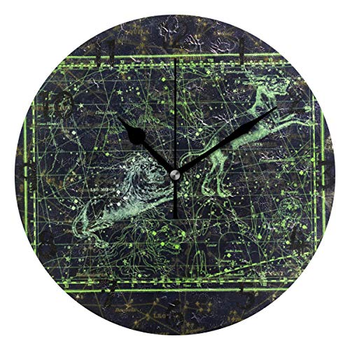 LDIYEU Mapa De Cabra De León Verde Reloj de Pared Silencioso Decorativo Madera Vintage Relojs para Niños Niñas Cocina Dormitorio Hogar Oficina Escuela Decoración