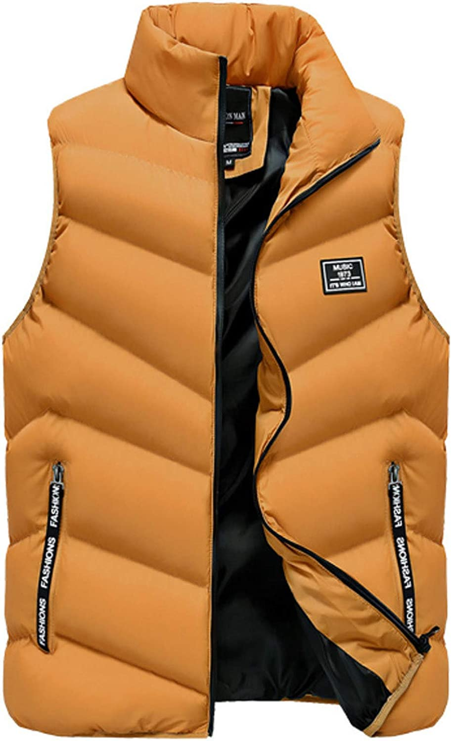 Men's Down Puffer Quilted Vest Outerwear Side Pockets Polyester Ultra Soft Sleeveless Jacket for Outdoor Travel