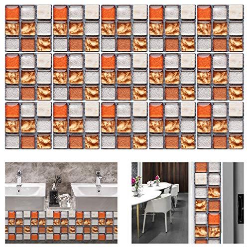 Gwolf Adesivi per Piastrelle 3D Mosaico, 30 Pezzi Adesivi per Piastrelle a Mosaico, Pellicola per Piastrelle per Bagno, Piastrelle autoadesive per Cucina, Adesivi per Piastrelle a Mosaico per Bagno
