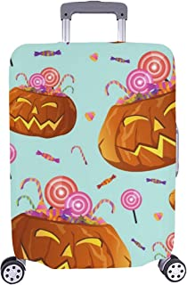 Halloween Pumpkins Candies Lollipops Spandex Trolley Case Travel Luggage Protector Suitcase Cover 28.5 X 20.5 Inch