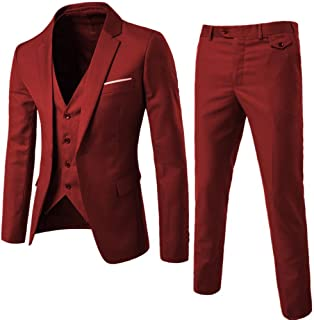 tan and red prom suit