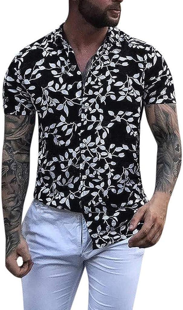MODOQO Men's Tropical Hawaiian Shirt Baggy Printed Short Sleeve Button Loose Tees