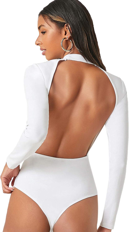 Romwe Women's Sexy Backless Long Sleeve Mock Neck T Shirts Bodysuit
