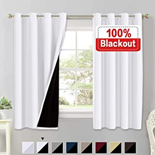 100% Blackout Curtains for Living Room Double Layer Faux Silk Curtains Room Darkening Thermal Insulated Energy Saving Grommet Window Treatment Panels (White, 52 by 63-inch)