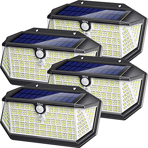 Biling Solar Lights Outdoor 266 LED with Lights Reflector, IP65 Waterproof Solar Motion Sensor Security Lights, 3 Modes Wireless Wall Lights for Garden, Patio, Yard, Garage(4 Pack)