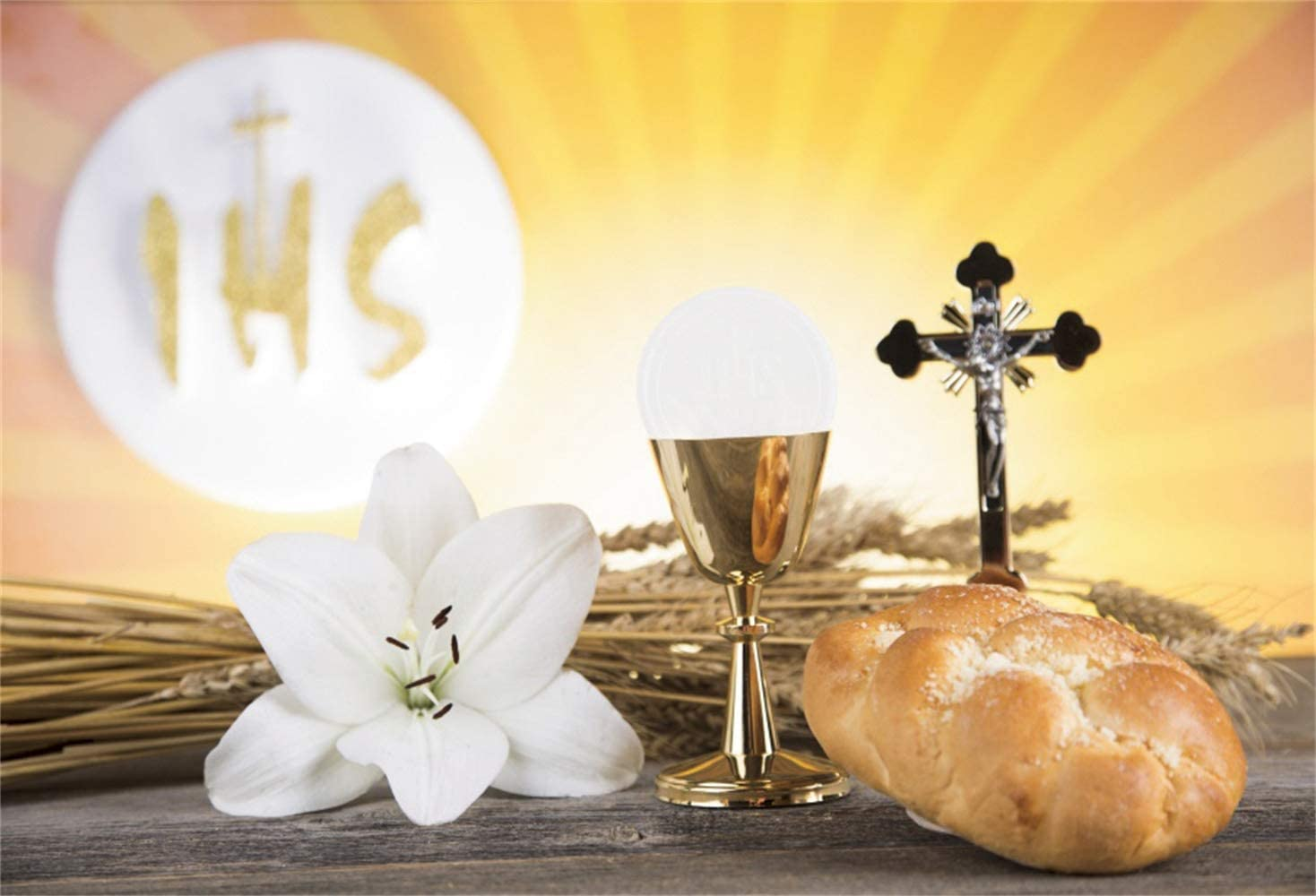 Leowefowa Holy 35% OFF Communion Attention brand Backdrop 7x5ft Br Lily Chalice Crucifix