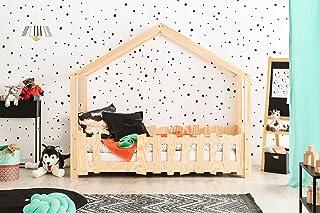 Lit Enfant cabane en Bois Massif avec barrières 90 x 190 cm; modèle SB; Couleur Marron