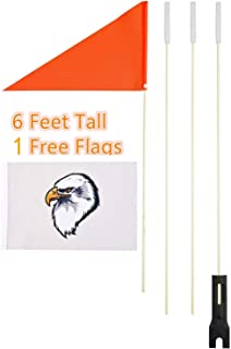 Uelfbaby Bike Safety Flag with Pole, 6-Foot Adjustable Height Heavy Duty Fiberglass Pole Polyester Full Color Tear-Resistant Waterproof Orange Safety Flag and Eagle Flag