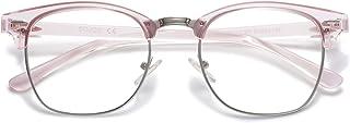 Retro Semi Rimless Blue Light Blocking Glasses Half Horn...