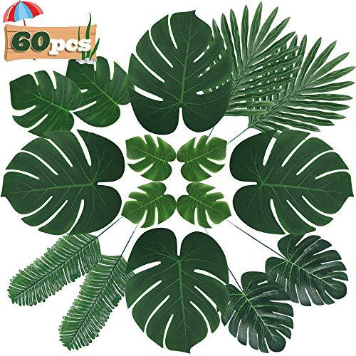 Hojas artificiales largas de Zhou, 60 piezas, hojas de palmera tropical, hojas de Monstera, selva, playa, decoraciones para fiestas (6 tipos)