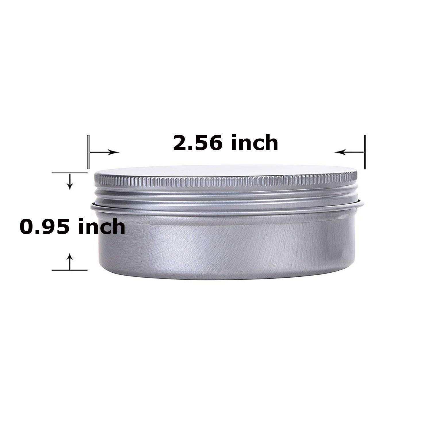 Aluminum tin jar 2oz refillable containers 60mlCosmetic small tinAluminum screw lid round tin container bottle for cosmetic ,lip