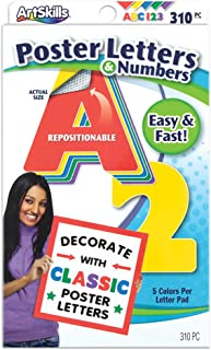 ArtSkills Poster Letters and Numbers, A-Z and 0-9, Assorted, Classic Colors, 310-Count (PA-1469)