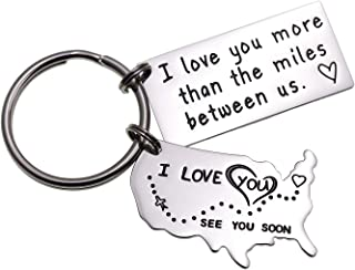 LParkin Love Keychains for Couples I Love You More Than The Miles Between Us I`ll Always Love You Long Distance Relationship Gift Going Away State Keychain