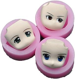 chengyida Lot de 3 Stlye cara humana con forma de 3d para tartas Fondant molde de