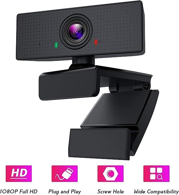 BOIFUN Webcam PC 1080P con Micrófono Full HD Cámara Web USB Portátil para Videoconferencia Estudios Conferencias Grabación Juegos Compatible con Windows Mac Linux Android TV [Gestionado por Amazon]