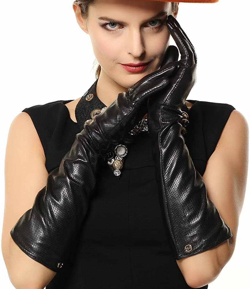 ELMA Lady's Eblow Long Nappa Leather Driving Gloves Gold Plated Logo