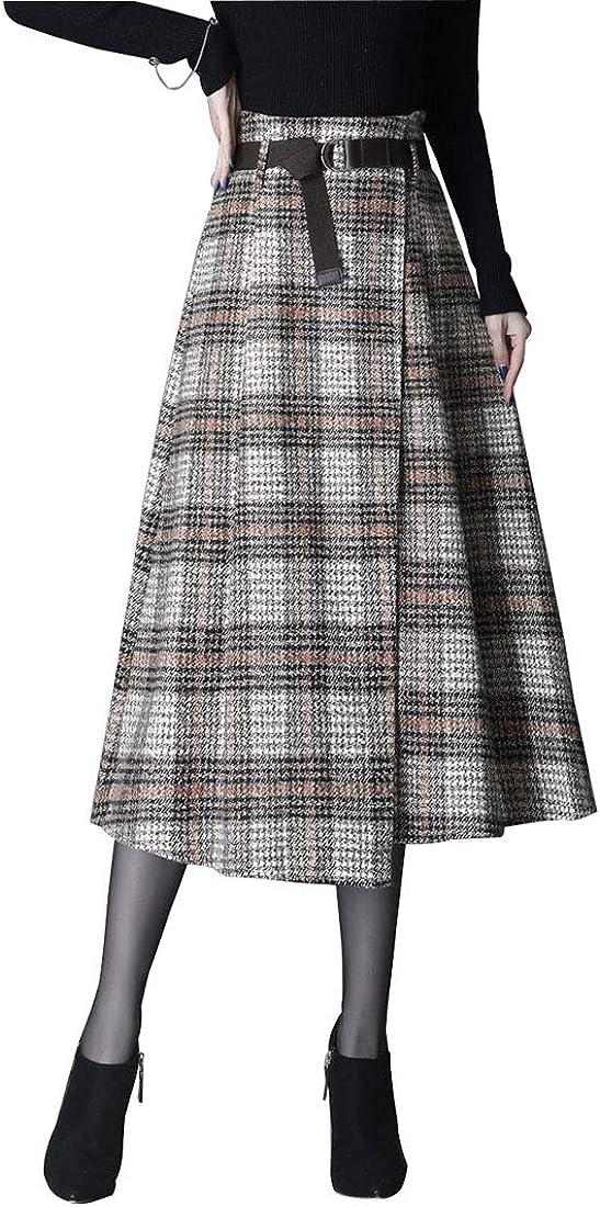 Gonne Lunga Invernale Donna Gonna Maxi Elegante Lana Caldo Vintage Vita Alta A-Linea Svasata Gonne Colore Solido Cintura