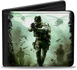 Buckle-Down PU Bifold Wallet - CALL OF DUTY-MODERN WARFARE Soldier Pose Box Cover Black/Greens