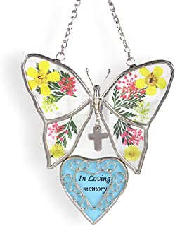 """BANBERRY DESIGNS in Loving Memory Butterfly Suncatcher - Pressed and Dried Flowers Between Glass - Sympathy Gifts for Death of a Loved One - Memorial Card Included - 4 ½""""H"""