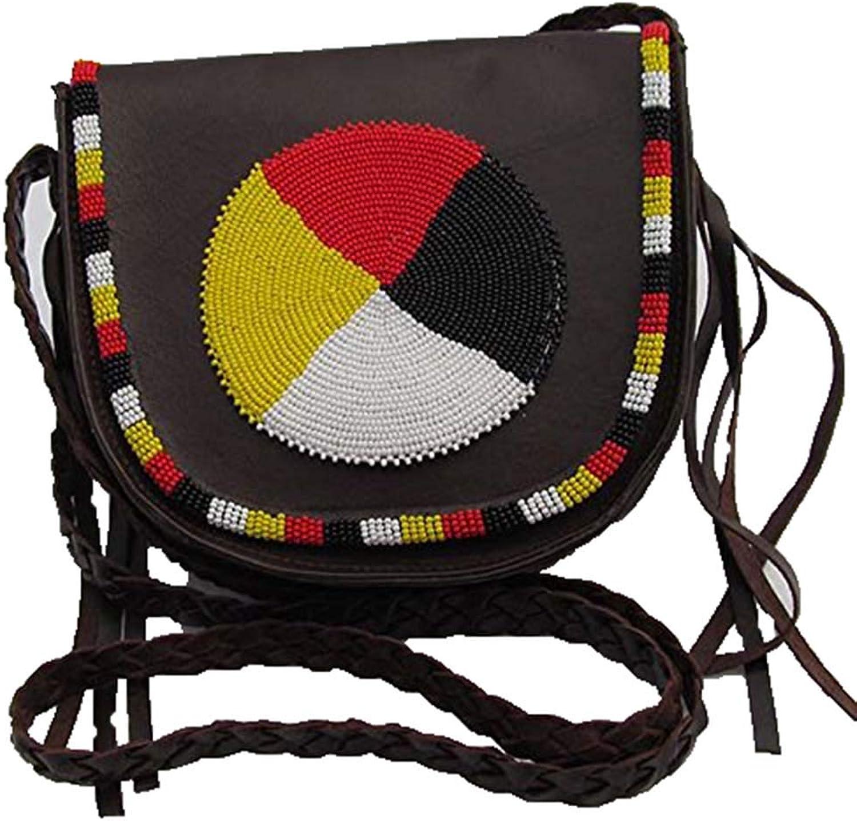 Natural Leather Women Messenger Hand bag Medallion Beaded Hand Bag LBI3450