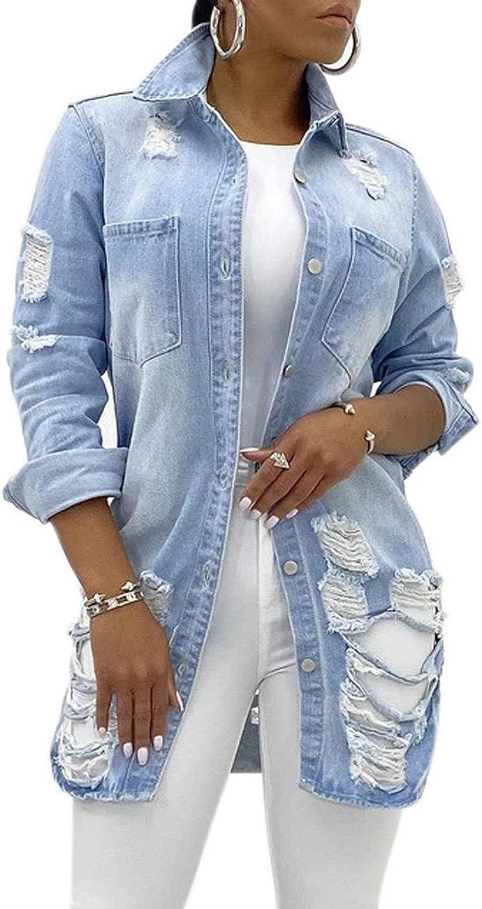 CuteCherry Women's Jean Jacket Long Sleeve Classic Distressed Fray Hem Tassels Denim Trucker Jackets
