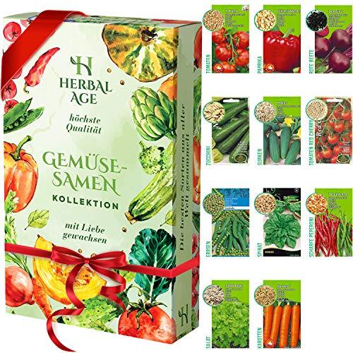 Züchte deine eigenen Samen-Set - 11 Gemüsesorten, 3500 wachstumsfähige Erbstücksamen - Gemüseanbau-Set für Frauen, Kinder, Anfänger, Geschenke für Gärtner - Möhre Zwiebel Spinat Tomatensamen