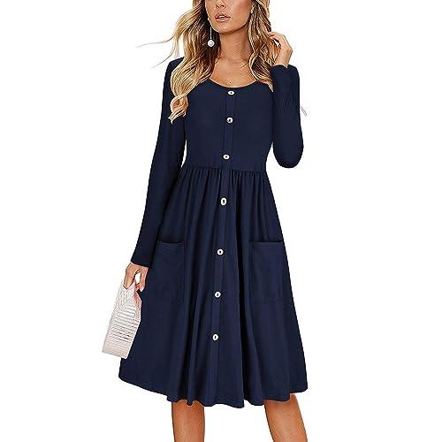 af8b21e7d91e SHUAISHUAIKAI Women's Dresses Long Sleeve Round Neck Button Down Midi Dress  with Pockets