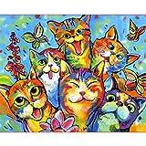 Zhxx Pintar Por Numeros Rotulador Fiesta De Gato Po Lienzo Animal Decoración De La Boda Imagen Artística Regalo 40X50Cm Sin Marco