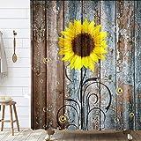 Rustikaler Sonnenblumen-Duschvorhang, Landhaus-Blumenmotiv auf rustikaler ländlicher Scheune, Holzstoff, Duschvorhang, gelbbraun, Badezimmer-Gardinen mit Hakensets, 175,3 x 177,8 cm