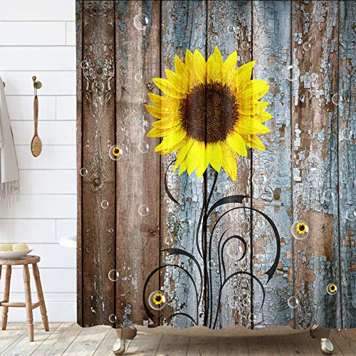 Rustic Sunflower Shower Curtain, Farmhouse Country Floral Flower on Rustic Rural Barn Wooden Fabric Shower Curtain, Yellow Brown Bathroom Curtains with Hooks Sets, 69x70inches