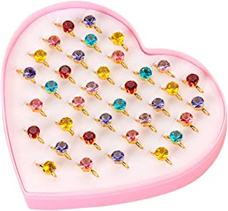 36pcs Colorful Alloy Diamond Rings Toys Lovely Jewelry Gift Party Favors for Kids Girls (Colored Diamond)