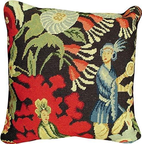 EuroLux Home Throw Philadelphia Mall Pillow Finally popular brand Needlepoint St. C Wool Black 18x18 CYR