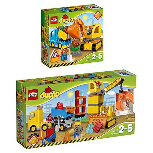 LEGO Duplo 2er Set 10812 10813 Bagger mit LKW + Große Baustelle