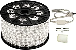 AQL Dimmable Cool White LED Rope Light Standard Kit, 120 Volts, Full 360 Degrees LED 513PRO Diode, 150ft/Roll, Commercial Grade Indoor/Outdoor Rope Light, IP65 Waterproof