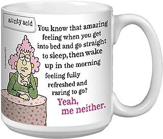 Tree-Free Greetings Extra Large 20-Ounce Ceramic Coffee Mug, Aunty Acid Fully Refreshed