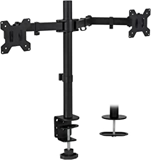 Mount-It! Dual Monitor Mount   Double Monitor Desk Stand   Two Heavy Duty Height Adjustable Arms Fit 2 Computer Screens 19 21.5 24 27 32 Inches   VESA 75 100   Interchangeable C-Clamp and Grommet Base