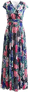 WYYY ドレス 夏の季節 ロングスカート ノースリーブ V襟 フラッシング 折りたたむ 青 セレブリティ シフォンドレス ビーチスカート (サイズ さいず : XXL)