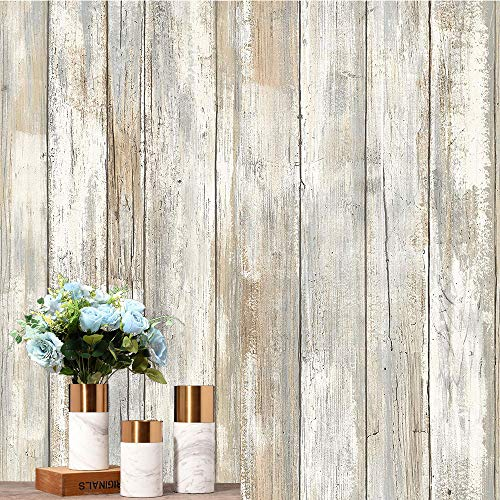 practicalWs Faux Distressed Wood Plank Paper Self-Adhesive Removable Peel and Stick Wallpaper Leave no Marks Covering Decorative Vintage Wood Panel Wooden Grain Film Vinyl Decal Roll 17.7in×236.2in