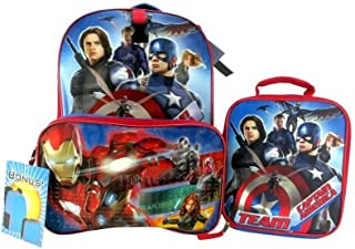 Marvel 16 Inch Captain America Civil War Kids Backpack and Lunch Bag Kit