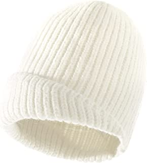 Winter Hat قبعة قبعة الشتاء للنساء بسط الضلع متماسكة قبعة صغيرة دافئ دافئ أضعاف الكفة قبعة قبعة (Color : White)