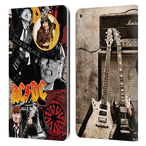 Officiële AC/DC ACDC Angus Jong Collage Lederen Book Portemonnee Cover Compatibel voor Huawei MediaPad T3 8.0