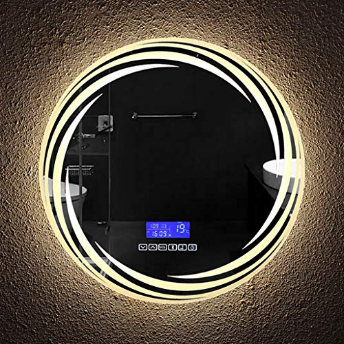 Led-badkamerspiegel met ingebouwde bluetooth-audio, demisterpad, zes toetsschakelaar + tijd/temperatuurweergave, diameter: 50/60/70/80 cm