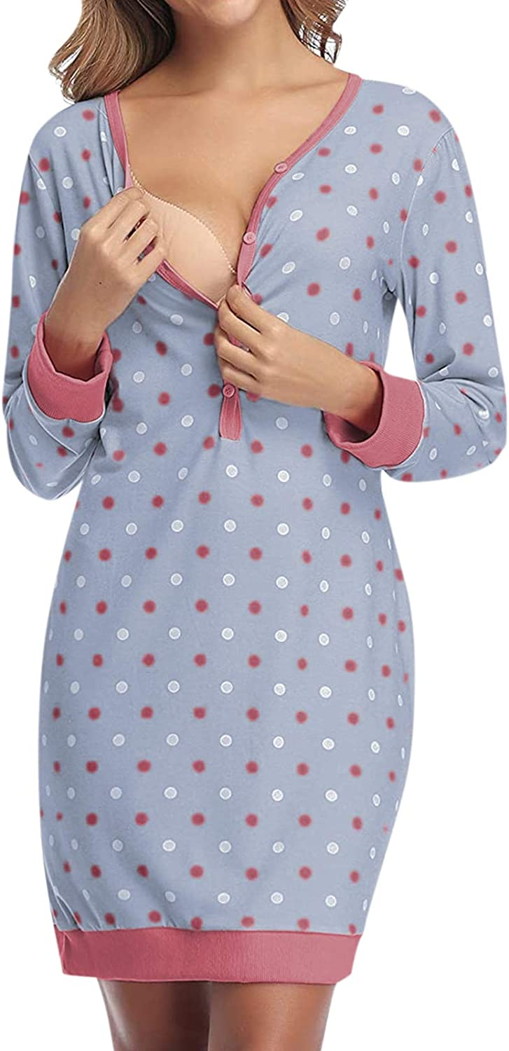 SUNNYME Womens Maternity Nighties Nursing Nightdress Breastfeeding Labor Delivery Gown Nightgown for Hospital